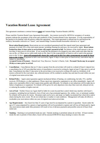 Vacation Rental Lease Agreement Format