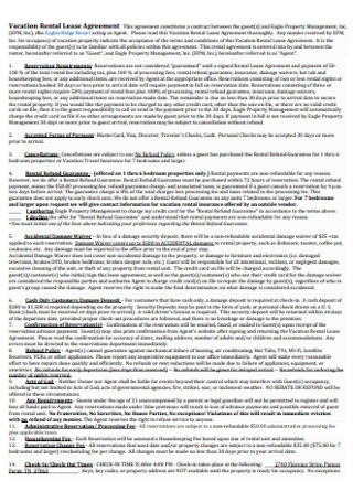 Vacation Rental Lease Agreement Sample