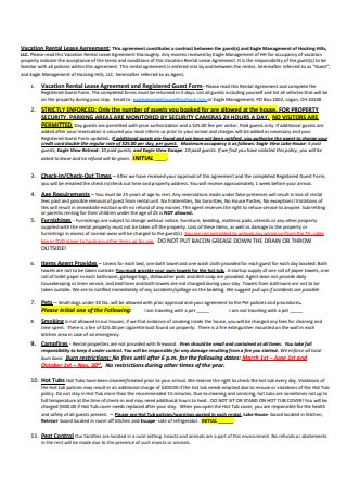 Vacation Rental Lease Agreement Sample1