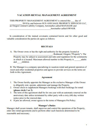 Vacation Rental Management Agreement