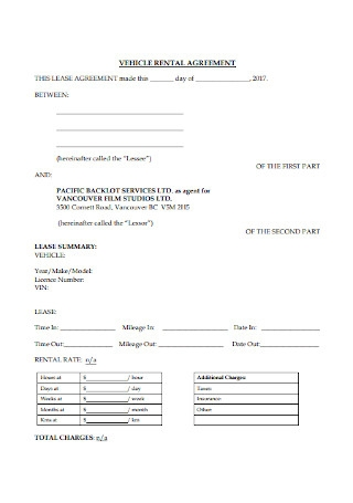 Vehicle Rental Lease Agreement