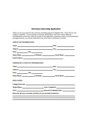Veterinary Internship Letter of Recommendation Application