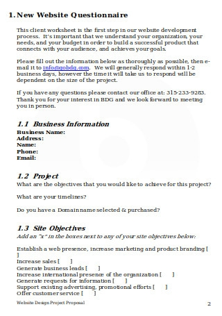 Website Design Questionnaire