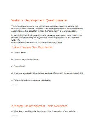 Website Development Questionnaire
