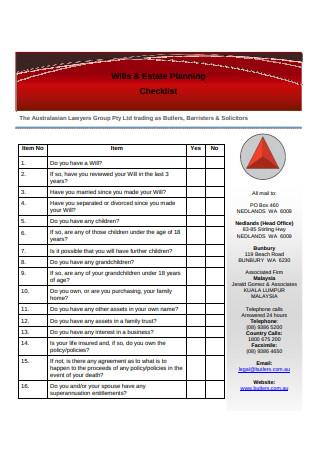 Wills and Estate Planning Checklist