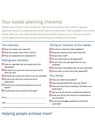 Your Estate Planning Checklist Sample