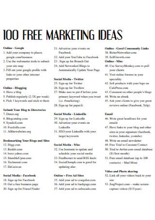 100 Free Marketing Ideas