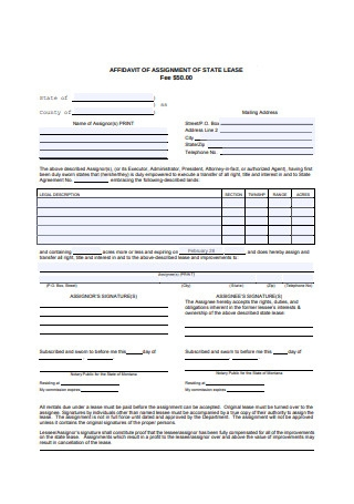 Affidavit Assignment of State Lease