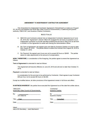 Amendment to Independent Contractor Agreement