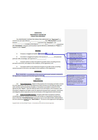Annoted Independent Contractor Consulting Agreement