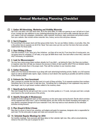Annual Marketing Sales Planning Checklist