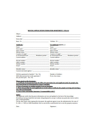 Apartment Residential Rental Application Form