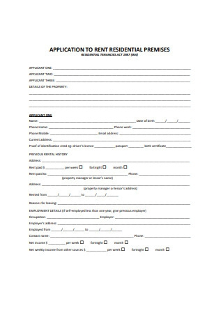 Application to Rent Residential Premises Form