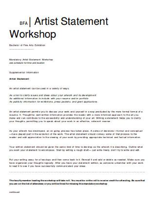Artist Statement Workshop in DOC