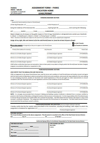 Assignment Form of Lease