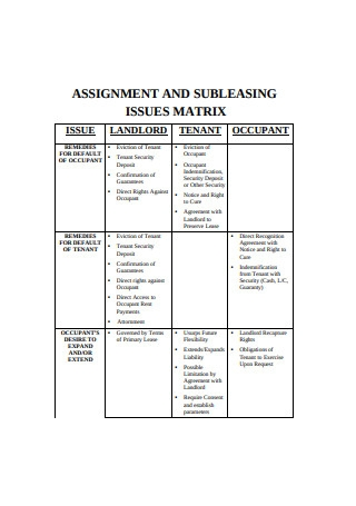 Assignment and Subleasing Issue Matrix