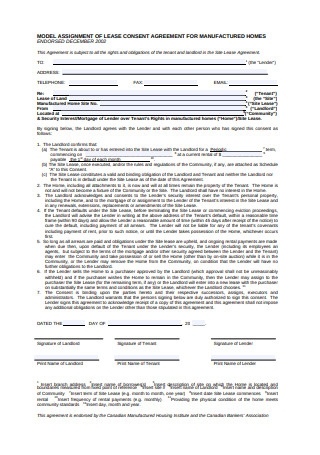 Assignment of Lease Consent Agreement for Manufactured Homes