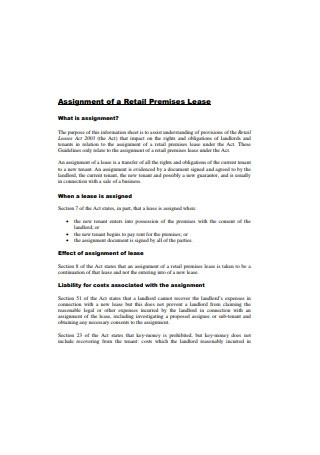 Assignment of a Retail Premises Lease