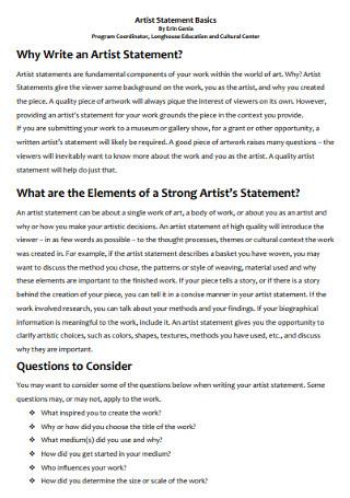 Basic Artist Statement