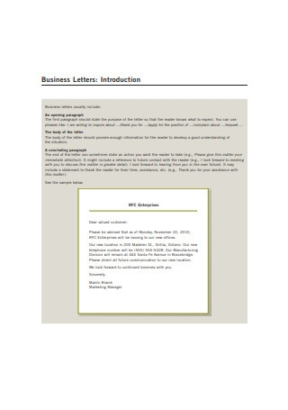 Basic Business Introduction Letter