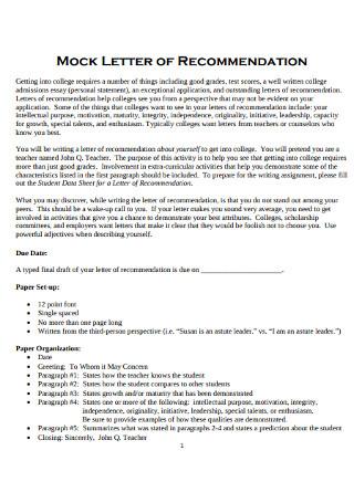 Basic Teacher Recommendation Letter