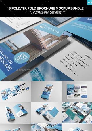 Bifold Trifold Brochure Mockup Bundle