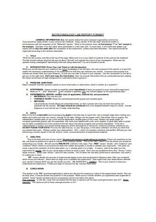 Biotechnology Lab Report Format