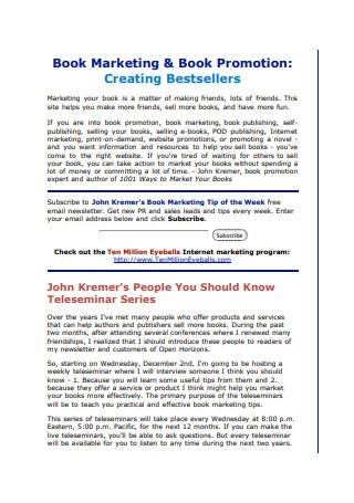 Book Marketing Tips and Book Promotion Ideas
