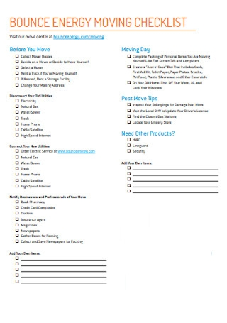 Bounce Energy Moving Checklist