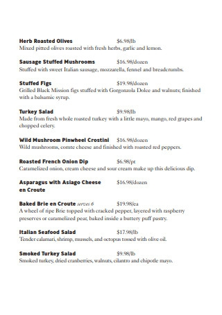 Buffet Thanksgiving Menu