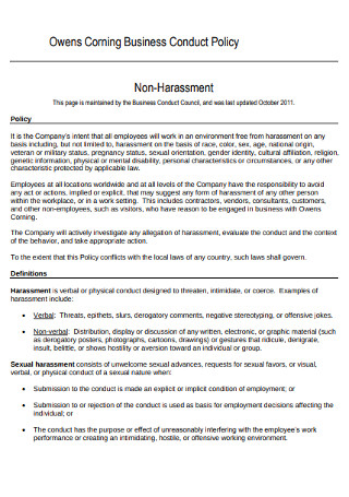 Business Harassment Policy