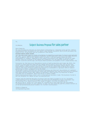 Business Proposal for Sales Partner