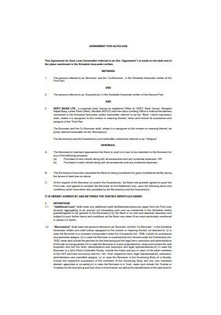 Car Loan Agreement