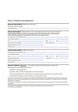 Certificate Loan Agreement