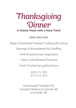 Classic Feast Thanksgiving Menu