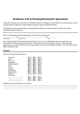 College Residence Life and Roommate Agreeement