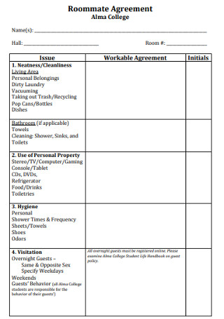 College Roomate Agreement Template