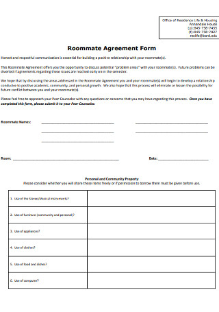 College Roommate Agreement Form