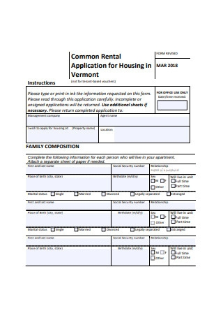 Common Residential Rental Application Form