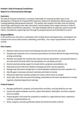 Coordinator Sales Proposal