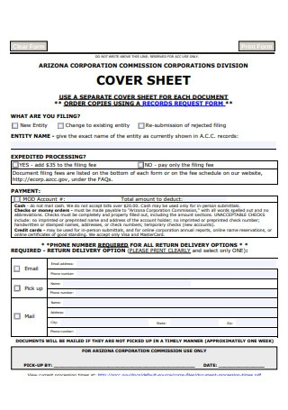 Cover Sheet Template