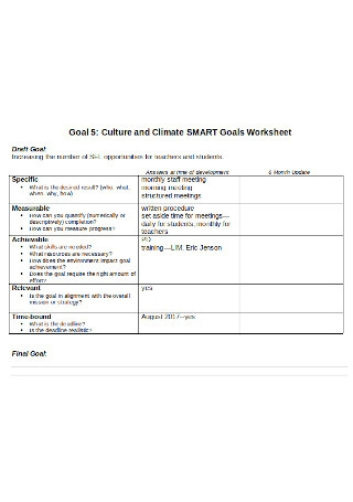 Culture and Climate SMART Goals Worksheet