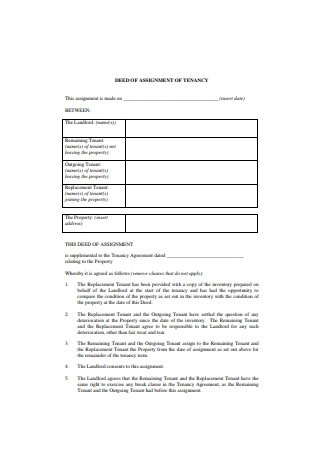 Deed of Assignment of Tenancy