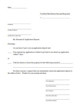 Demand Letter of Application Deposit