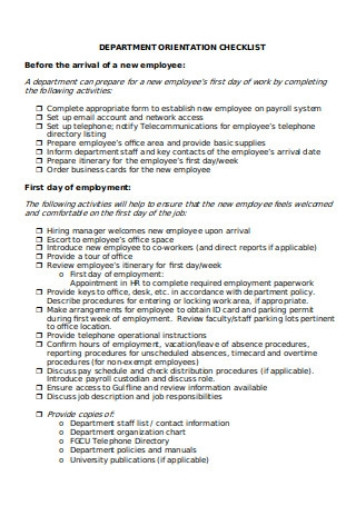 Departmental Checklist for New Employees