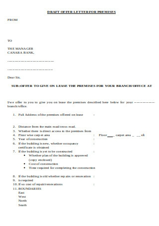 Draft Offer Letter for Premises
