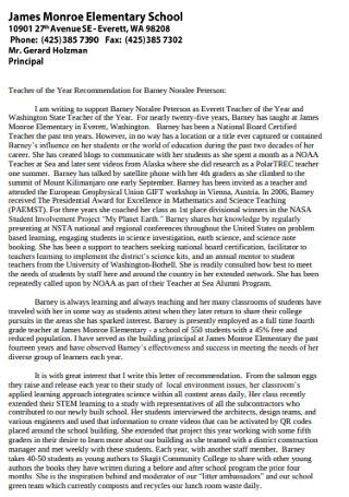 Elementory School Teacher Recommendation Letter