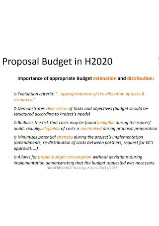 Eligible Costs Proposal Budget