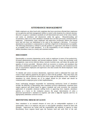 Employee Attendance Management Record