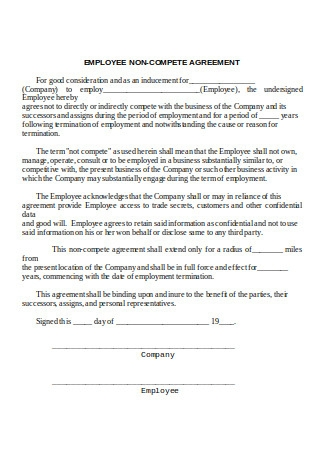 Employee Non Compete Agreement